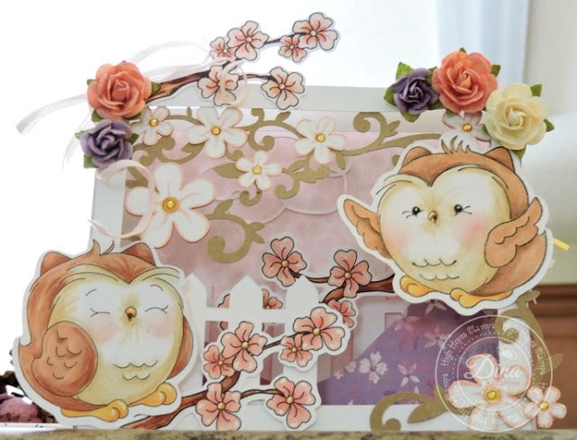 """High Hopes Stamps """"Owls in My Garden"""" Shadowbox by Dina using High Hopes new Spring releases  """"Happy Owl"""" (SS016) & SVG, """"Blinky Owl"""" (SS014) & SVG, """"Blossom Tree Branch"""" (UU003) & SVG"""