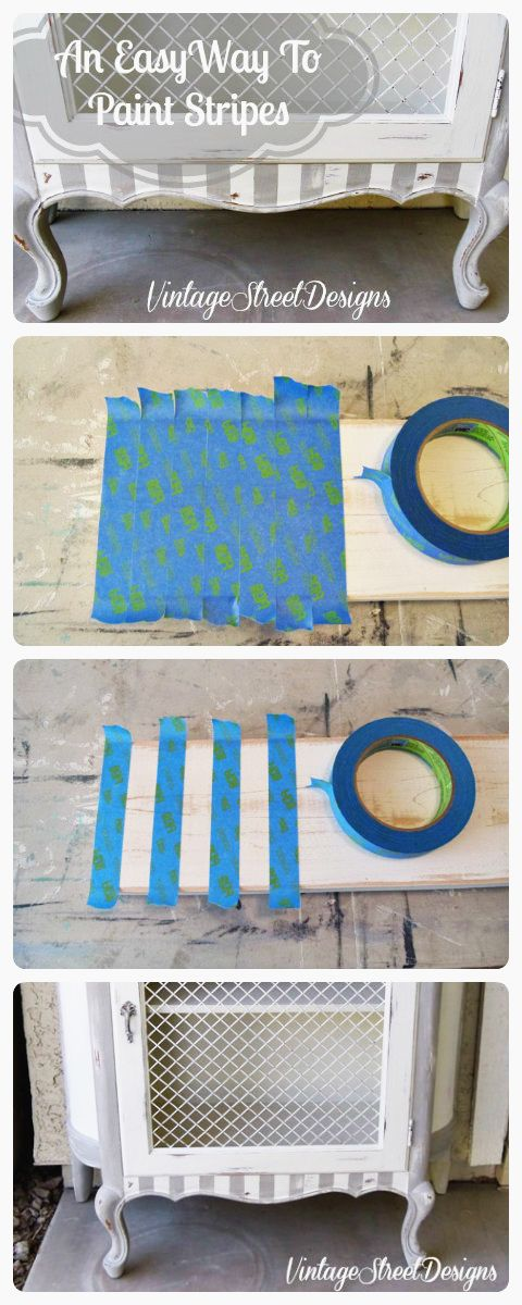 Salvaged Inspirations | Quick-Tip-Tuesday | A Quick and Easy Tip on How To Paint Stripes On Furniture