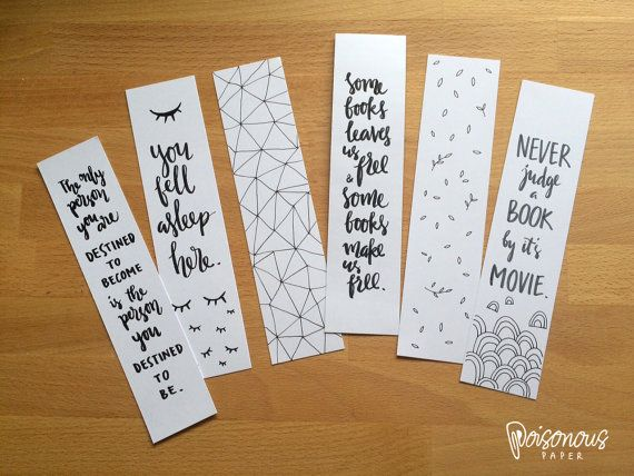 handwritten bookmarks illustrated quotes by