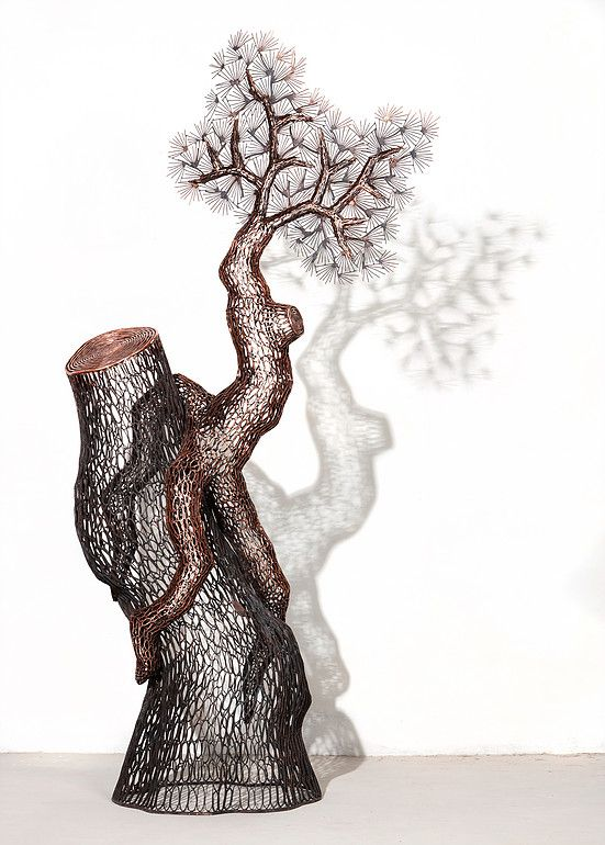 삼지송 2016-2 Pine Tree With Three Roots 2016-2 106x212(h)x70cm 동파이프 산소용접 copper welding