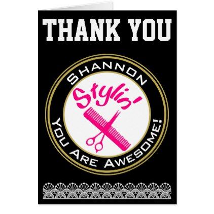 Personalized Thank You for Hairstylist Hairdresser Card - hair stylist gifts business cyo diy custom create