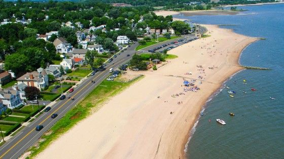 Aerial photo overlooking the shoreline of West Haven, Connecticut along Ocean Avenue. Photo: Wikipedia via New England Boating