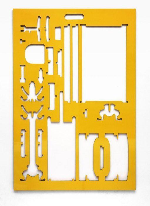'Spirit Level Yellow' (sculpture, enamel on board) by Simon Ingram.