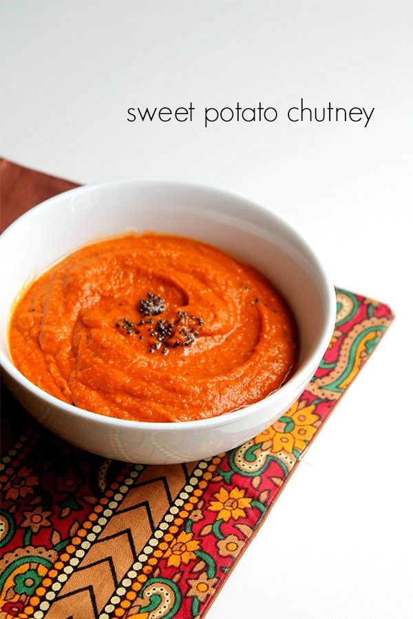 sweet potato chutney recipe with step by step pictures - a delicious south indian spiced chutney made with sweet potatoes. the sweet potato adds a certain natural sweetness which balances other flavors in the dish.