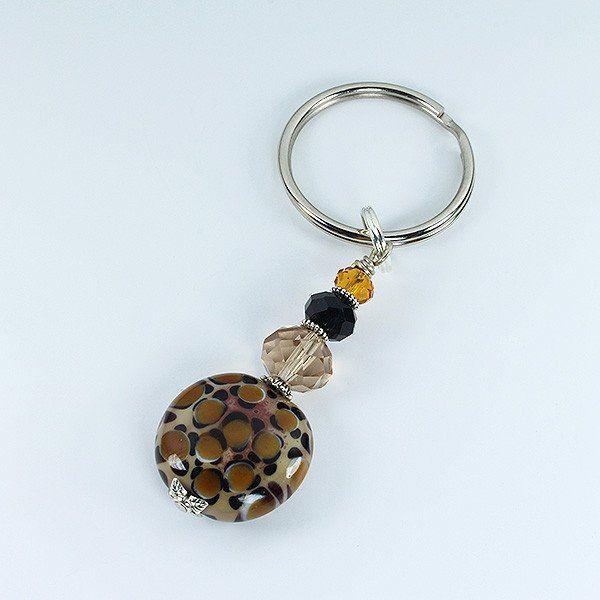 Murano glass bead Leopard keyring.