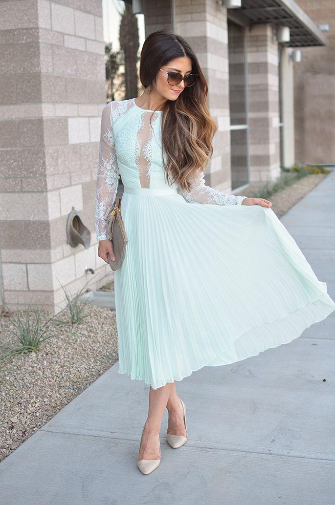 1ff66016576ab1 J Petite  Perfect Wedding Guest Dress - Minty Lace