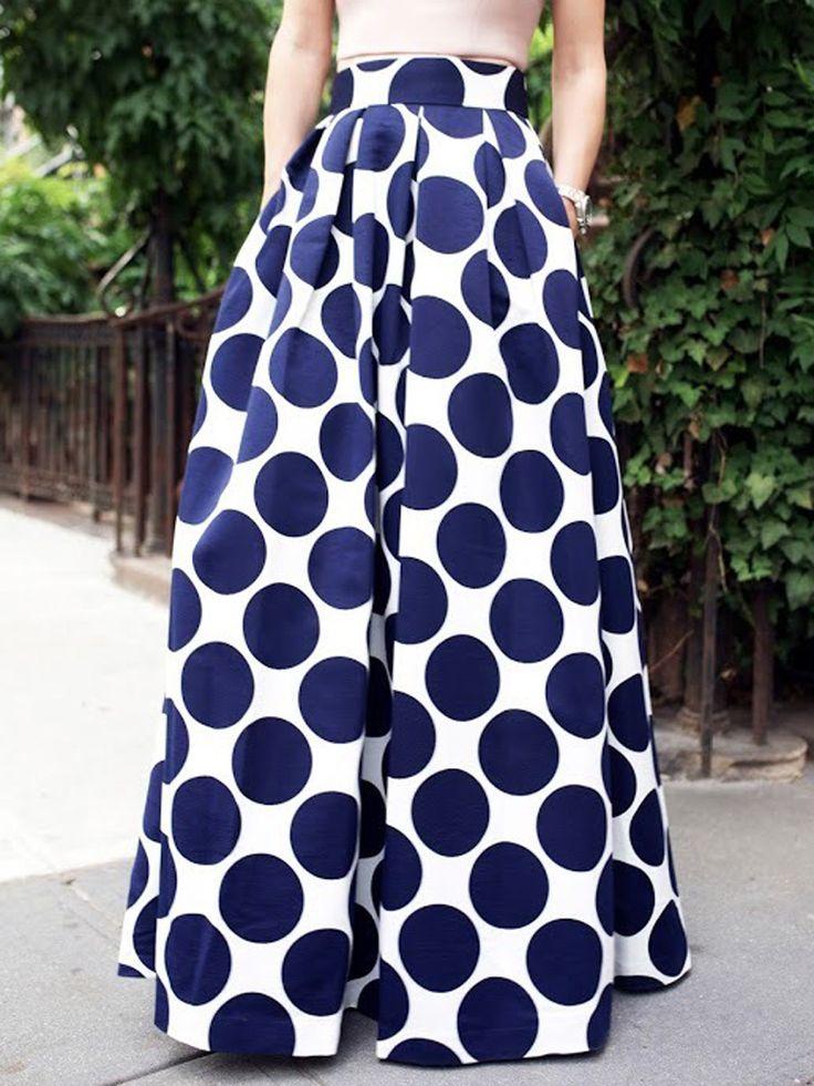White Contrast Polka Dot Print Maxi Skirt Choies