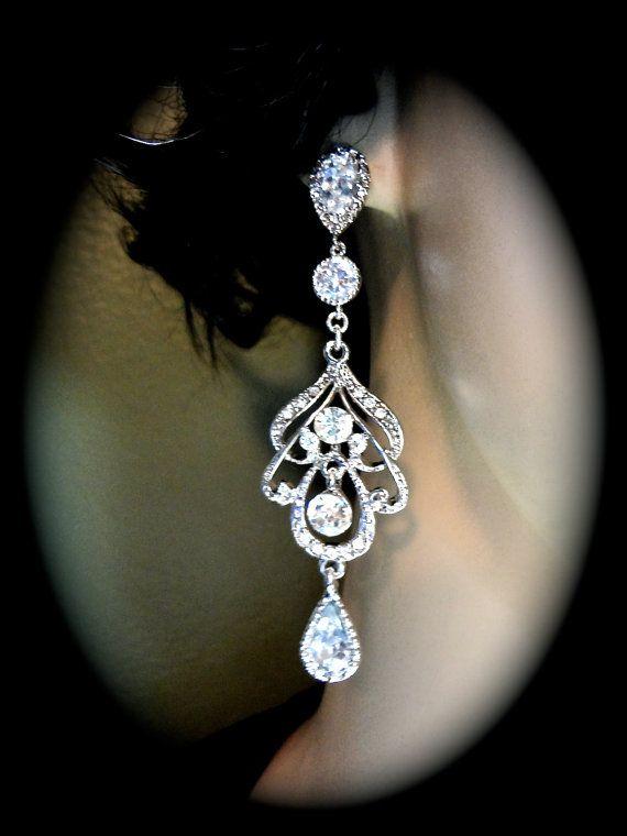 Rhinestone earrings - Long - Chandelier earrings - Statement earrings - Bridal Jewelry - Prom - Brides earrings -