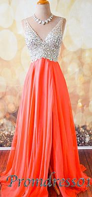 2015 cute v-neck rhinestones sparkly modest chiffon prom dress for teens, ball gown, evening dress #promdress