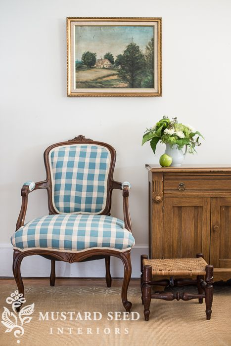 French Chair Makeover In Checks And Toile Miss Mustard