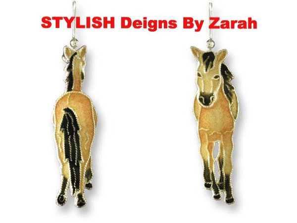 ZARAH CO BUCKSKIN HORSE EARRINGS