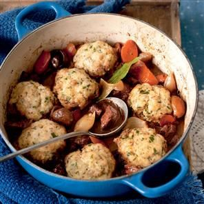 Hearty beef and red wine stew with Cheddar and parsley dumplings ...
