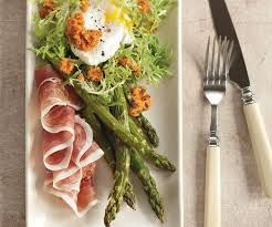 Image result for asparagus poached egg prosciutto