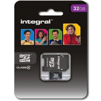 INTEGRAL Karta pamięci 32 GB microSDHC Class 4 + adapter Karta pamięci microSDHC marki Integral, klasy 4 o pojemności 32 GB. Idealna do zastosowania w urządzeniach mobilnych do przechowywania muzyki, zdjęć, filmów, aplikacji i gier.