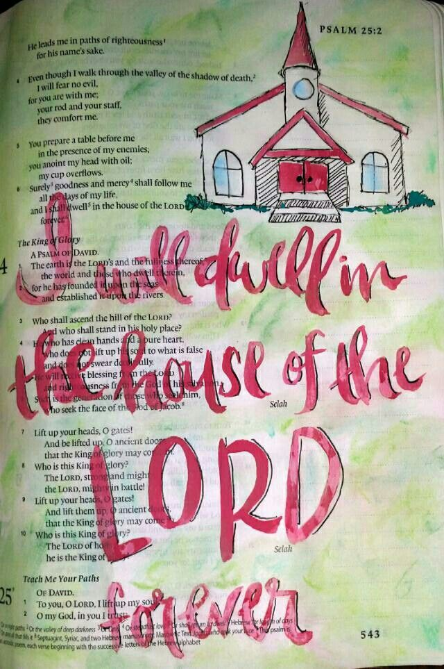 Psalm 23:6 Church watercolor painting Bible art journaling by @Peggy Thibodeau www.peggyart.com