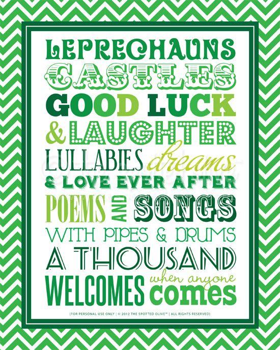 St. Patricks Day subway art printable