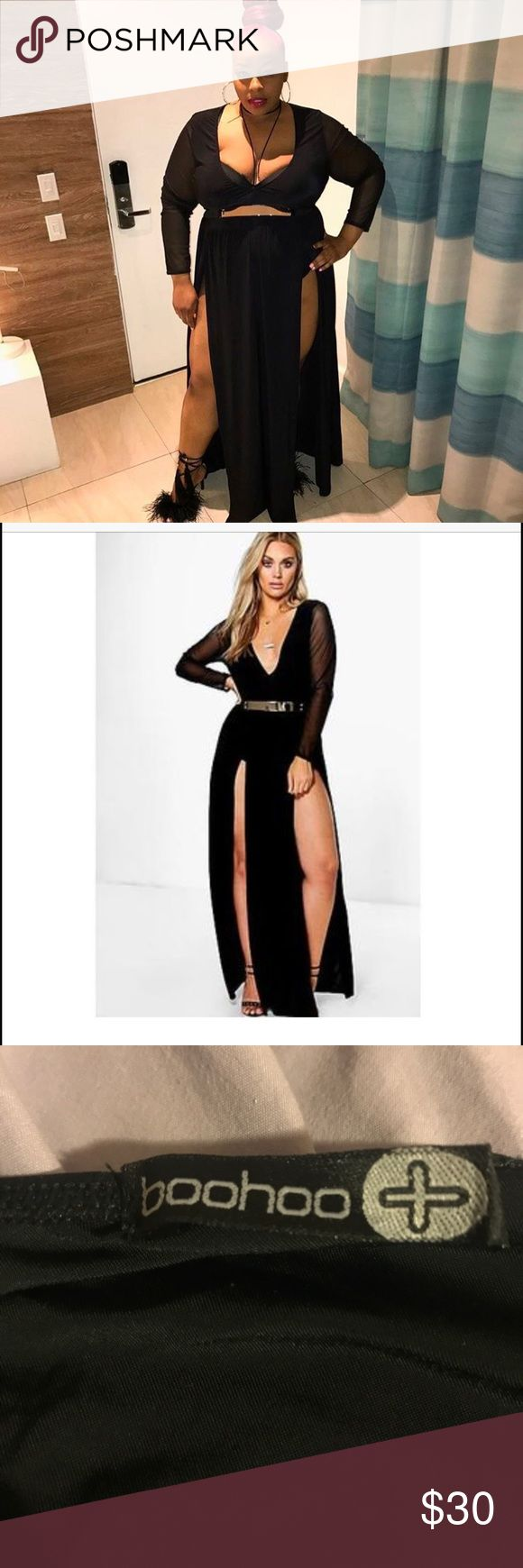 "Black dress Sexy!!!! Trendy!!! BLACK dress!!! Dress Worn Once!!!! Long Sleeve with high splits on each side. Deep Plunge ""Belt included"" Boohoo Plus Dresses Long Sleeve"