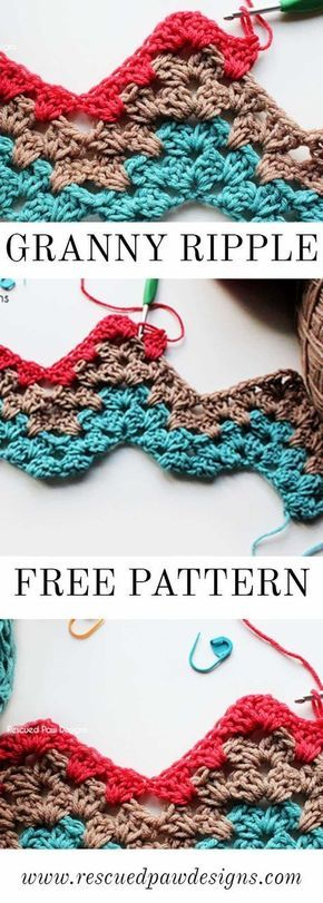 Learn the Granny Ripple in Crochet and make a fun blanket in no time at all! Great for beginner crocheters! Learn this and much more from Rescued Paw Designs www.rescuedpawdesigns.com via @rescuedpaw #crochetblankets