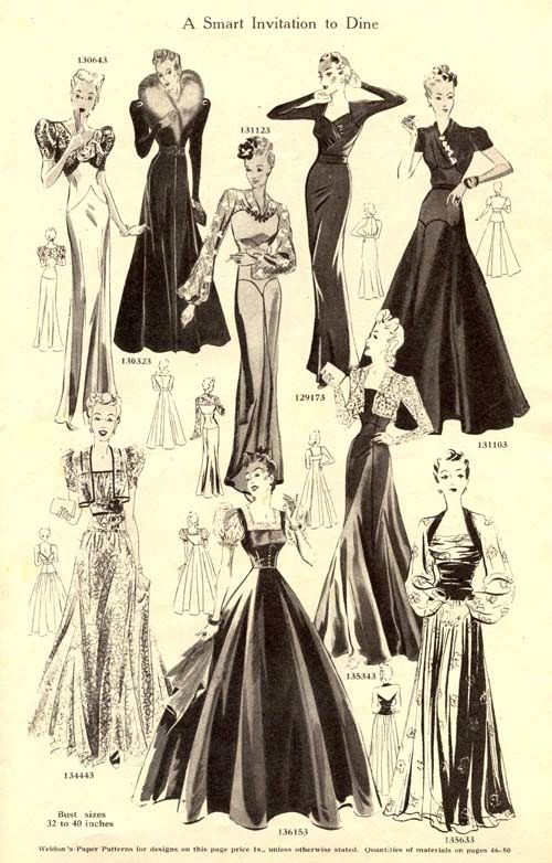 Dinner dresses from Weldons Catalogue of Fashions, autumn/winter 1939-40.