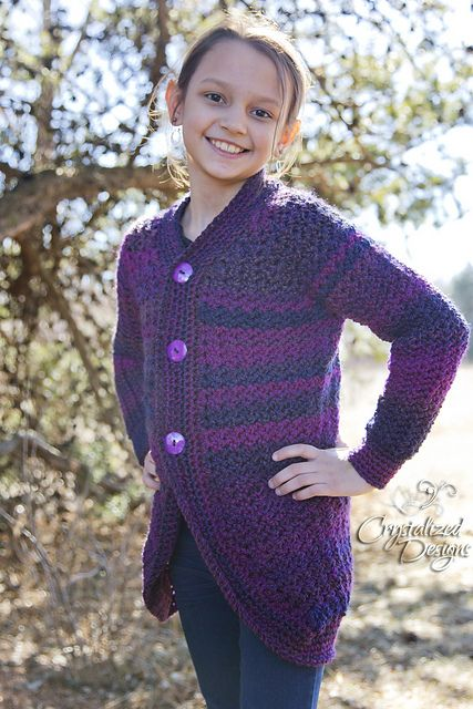 Cardigan Comfort! Love keeping warm on those cooler days? This cardi is perfect to make and wear! The pattern looks great in variegated, tweed and solid colors. This garment offers a positive ease for wearing thicker clothing under. Want a fitted cardi? Work one size smaller.