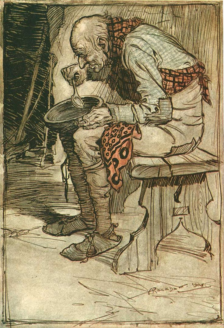 Arthur Rackham's Grimm's Fairy Tales. These scans are from a first edition of Grimm's Fairy Tales from 1909. This book is packed with amazing color plates and ink sketches.