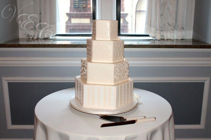 Ivory Hexagon Wedding Cake