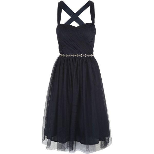Navy Short Mesh Prom Dress ($93) ❤ liked on Polyvore featuring dresses, mesh dress, navy blue dress, navy ball dresses, short cocktail prom dresses and cocktail prom dress