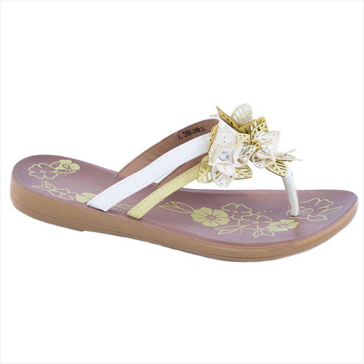 Papuci albi de dama 17-M41166A - Reducere 58% - Zibra