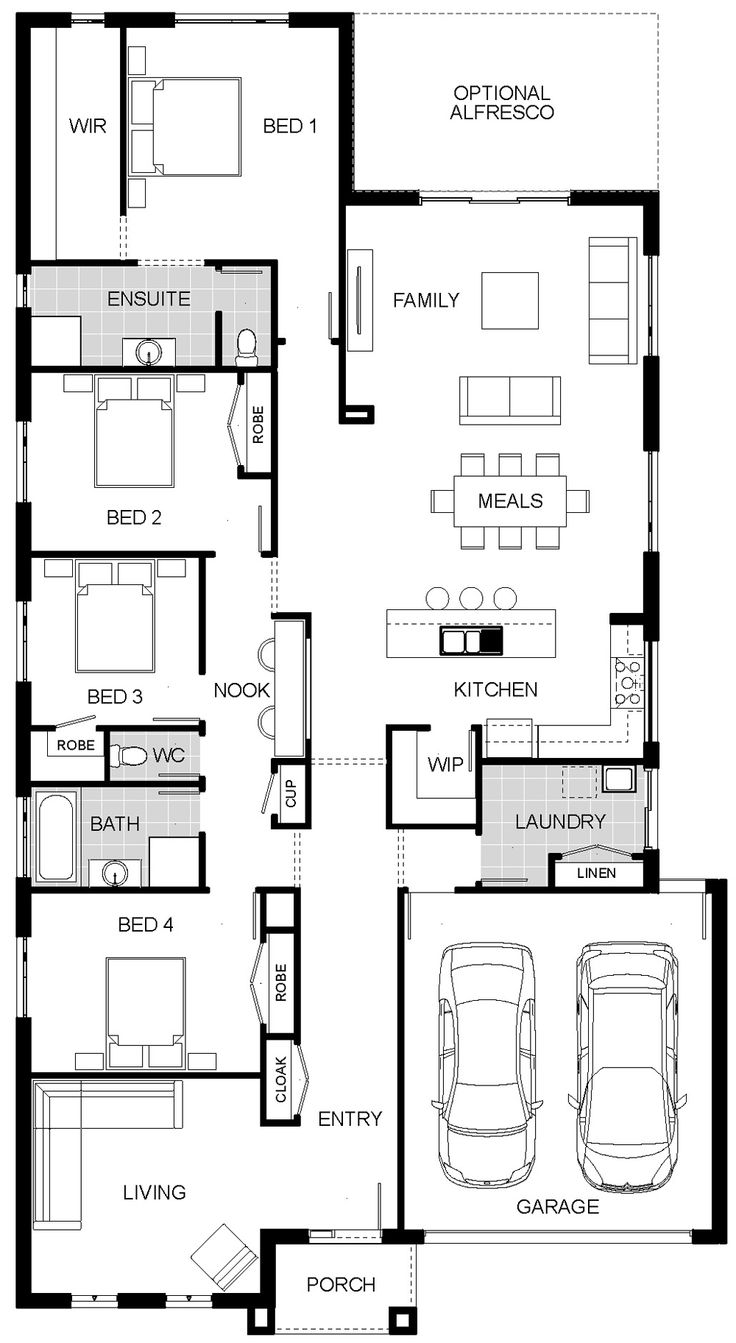 Floorplan | cirque - my edit - Move garage down, rotate laundry (to lengthen) creating move space for a Butler's pantry and a mudroom/cloak closet from garage