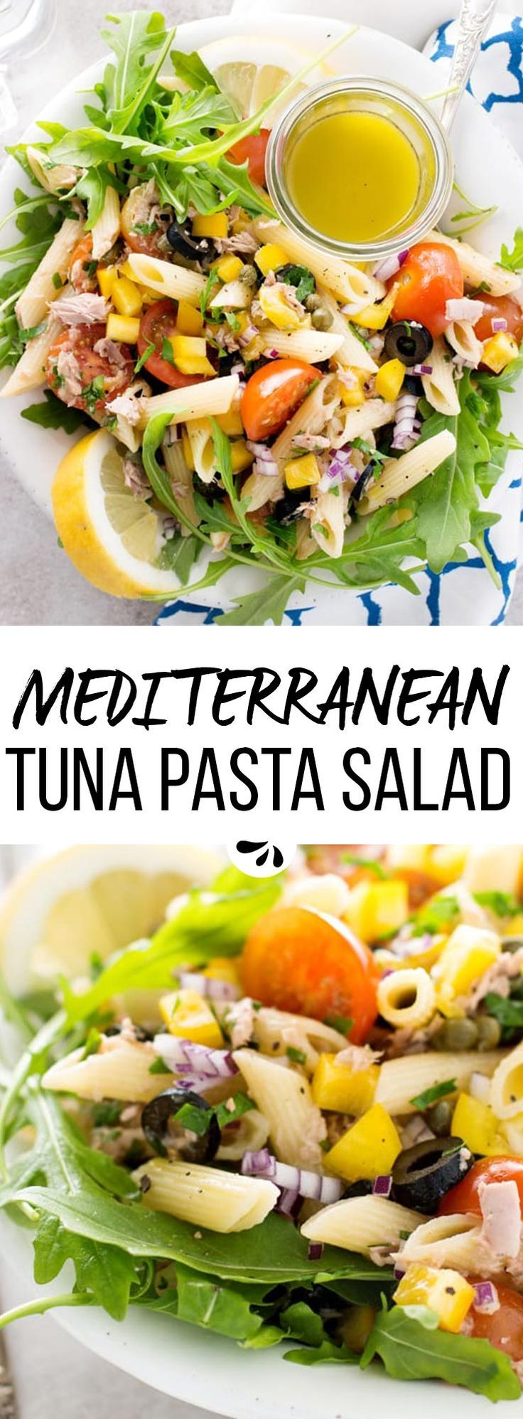 This healthy veggie loaded Mediterranean Tuna Pasta Salad is the perfect cold side dish for summer BBQ parties! Quick and to make without any mayo, simple ingredients and the best flavors. Great to make ahead so you can easily bring it to potlucks, barbecues or Memorial Day, Fourth of July and Labor Day parties. Let the kids help, so you can have some fun in the kitchen together! via @savorynothings