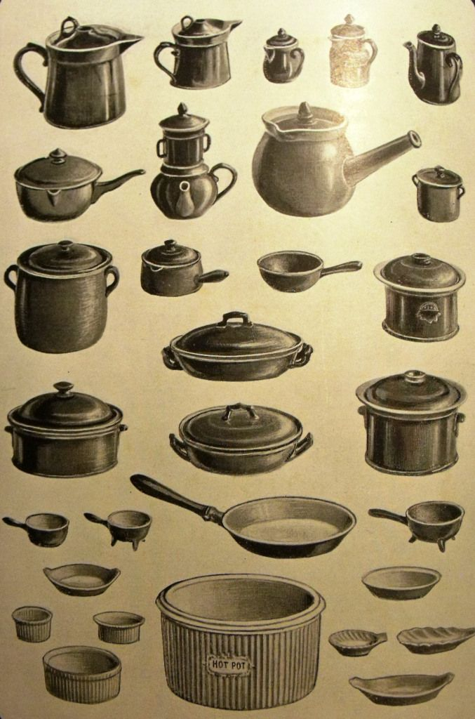 Victorian and Edwardian earthenware cooking utensils featured in Mrs Beeton's Book of Household Managment, 1915 edition.