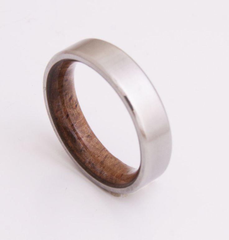 Titanium and Koa wood // Mens Wood Rings //wood Wedding Band //Men's wedding Band // beveled edge