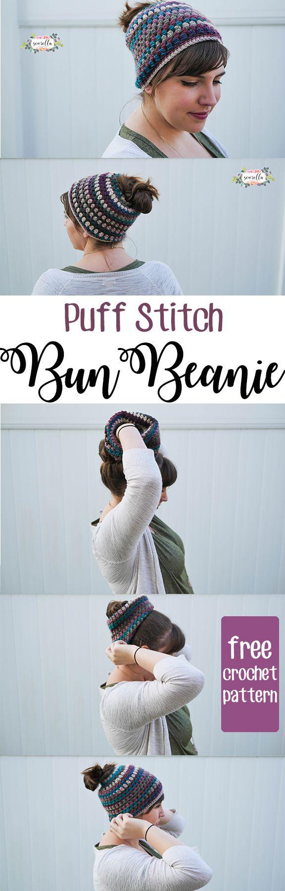 puff stitch crochet bun beanie or messy bun hat or mom bun hat | perfect for pulling that bun through a fashionable, warm hat! | A quick, easy beginner free pattern from Sewrella