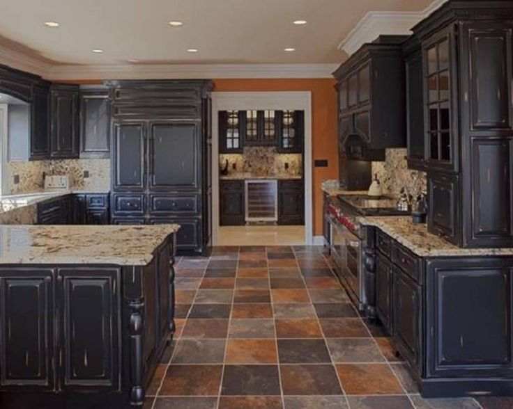 Furniture , Suave Distressed Black Kitchen Cabinets : Distressed Black Kitchen Cabinets With Granite Countertop And Travertine Floors