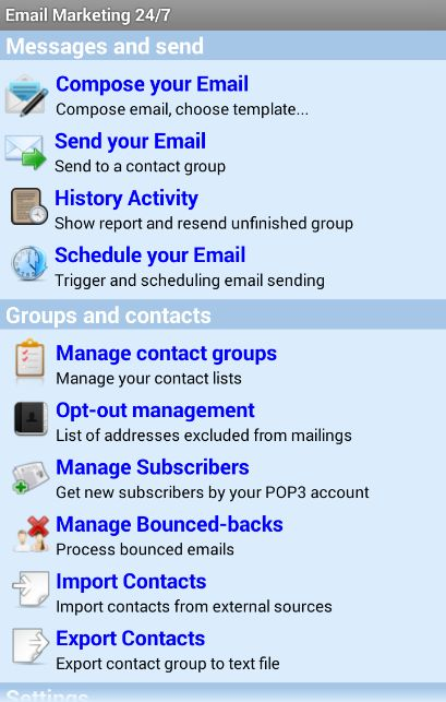 SALE OFF 50% Email Marketing 24/7 for android: https://play.google.com/store/apps/details?id=com.emailmarketing247pro