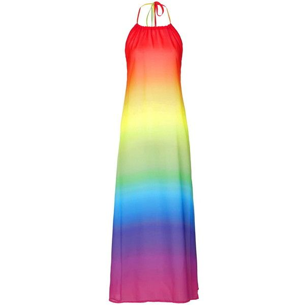 Rainbow Chiffon Maxi Beach by Jaded London (€38) ❤ liked on Polyvore featuring dresses, maxi dresses, rainbow, vestidos, multi, cocktail maxi dresses, chiffon dresses, halter neck maxi dress, halter maxi dress and evening dresses