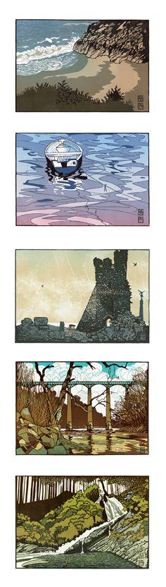 Cards for purchase. Linocut prints by Ian Phillips. http://www.reliefprint.co.uk/ Tags: Linocut, Cut, Print, Linoleum, Lino, Carving, Block, Woodcut, Helen Elstone, Wales, Welsh, Cymru, Landscape, Sea, Rocks, Boat, Castle, Bridge, Trees, Water.