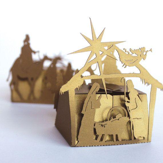 Laser cut favor box Nativity Scene by KatBluStudio on Etsy, $2.68