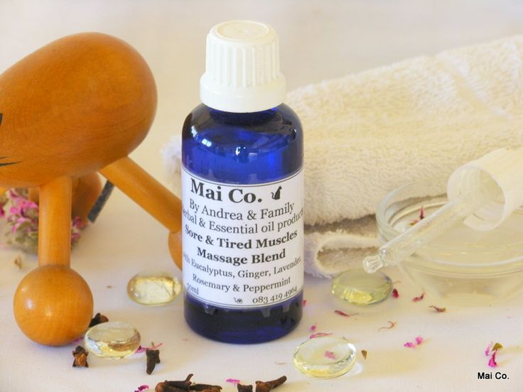 Sore & Tired Muscles Massage Blends - with oils of Eucalyptus, Ginger, Lavender, Peppermint & Rosemary. Soak in a hot bath or gentle massage into muscles to bring relief!
