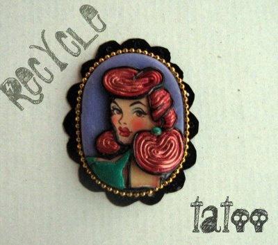 Ooak Necklace and brooch Rita serie Recycle Tatoo by JudithSara, €22.00