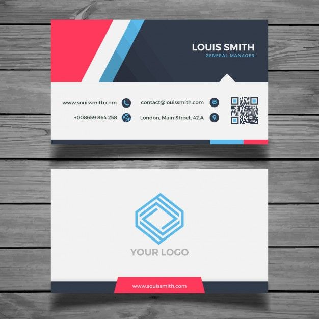 11 best business cards images on pinterest business cards modern colorful business card template free vector reheart Choice Image
