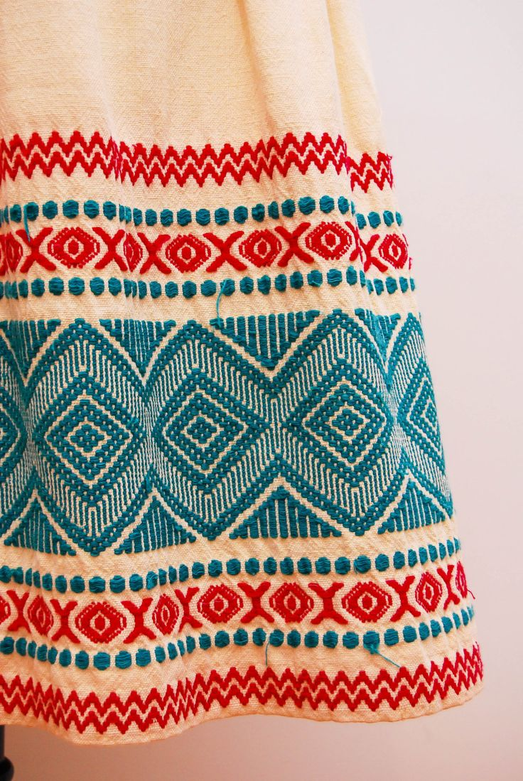 Vintage s folk mexican embroidery skirt aztec design