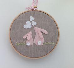 Pink felt rabbit hoop art baby shower gift by BoxRoomBazaar, £15.00