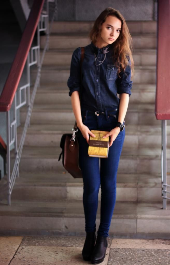 Womenu0026#39;s Navy Denim Shirt Blue Skinny Jeans Black Leather ...