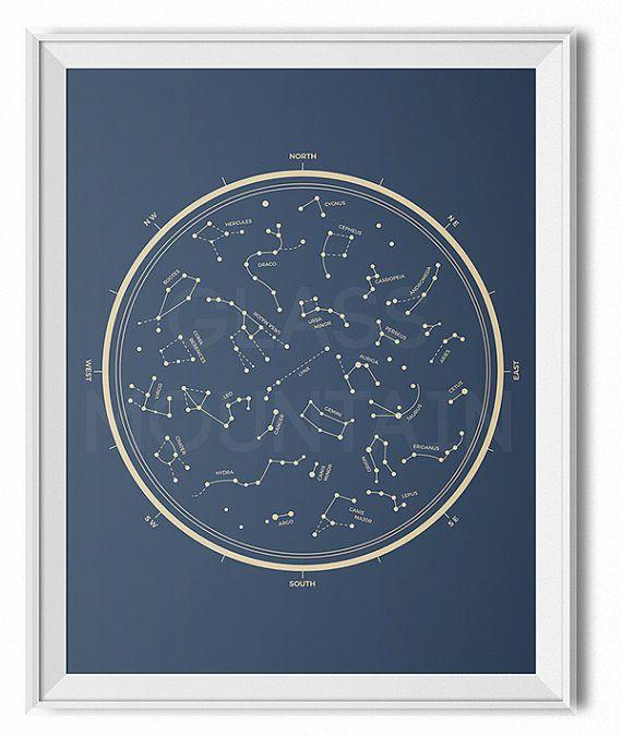 Star chart print, retro modern, vintage star chart, minimal wall art, star map, constellation wall art, space decor, gift for her, nerdy