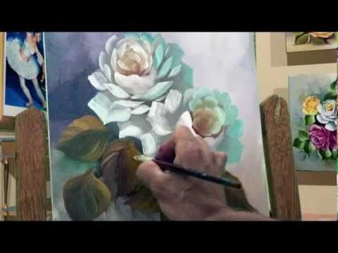 ▶ THis is an excellent video for painting decorative roses - even though I don't speak the language. Notice he uses a bright brush (shorter flat brush) with very little paint and mostly the brush is side-loaded with white. This technique will work with oils or acrylics.