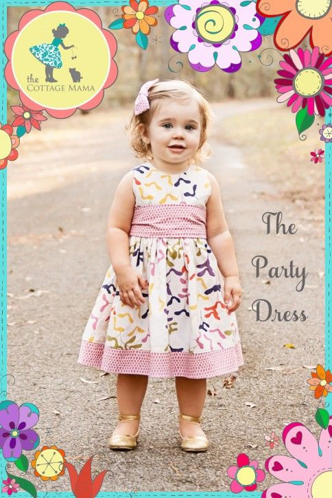 The Party Dress FREE Pattern. Size 6 month - 10 years from The Cottage Mama. www.thecottagemama.com