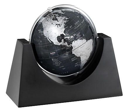 "RENAISSANCE Contemporary World Globe by Replogle Globes (Free Shipping) A distinctive desktop globe, the Renaissance features a 6"" globe ball with black ocean and grey land masses with maroon type identifying locations.   The globe rotates and spins easily in its hardwood base, inviting interaction and triggering the imagination."