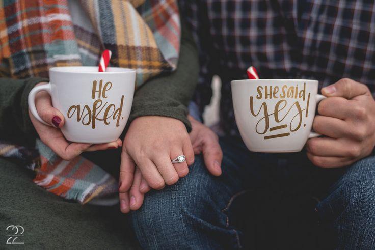 Custom Engagement Mugs | Outdoor Surprise Engagement Proposal | Winter Engagement Ideas | Engagement Rings | Handwritten Calligraphy | Engagement Photos