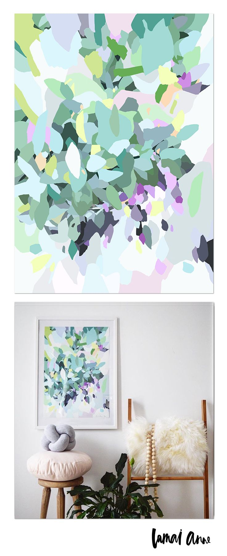 Gumtree abstract limited edition giclee art print by Australian artist Lamai Anne. What a wonderful way of bringing the Australian outdoors and a real pop of colour into your home. Lamai's artwork is a collaboration of Native Flora and Fauna that encompasses her home and surroundings. Her illustrations of Australian Natives are meticulously brought to life through her digital art, and the composition between the seasons to create vivid, colourful and eye catching pieces.